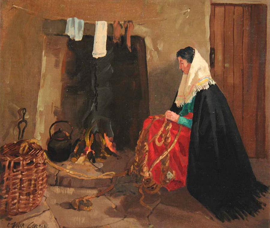 Traditional Irish firesides painted by Robert Taylor Carson (1919-2008).