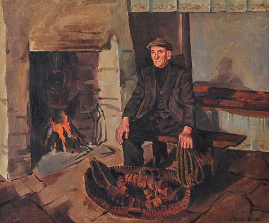 Traditional Irish firesides painted by Robert Taylor Carson (1919-2008)