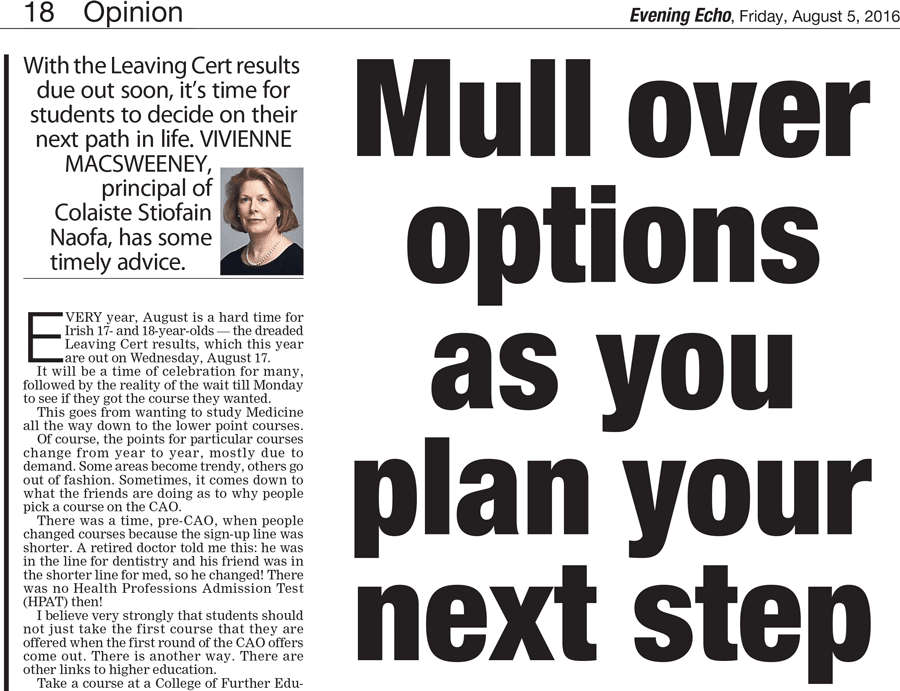 'Plan your next Step in Education with CSN'. An 'Evening Echo' article by Vivienne MacSweeney from