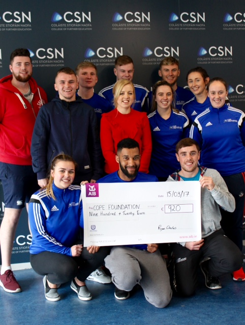 Coaching & Physical Education present 920 euro to Cope Foundation   Raised at the recent CSN 5-A-SIDE Tournament.  Joanne Higgins form the fundraising department thanked CSN for their great team work for this wonderful charity event.