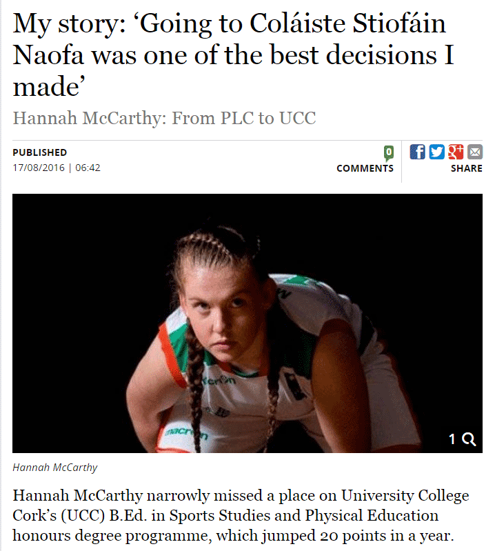Hannah McCarthy. Progression to UCC from CSN. Read the full story in The Irish Independent