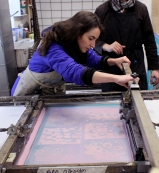 Level 6 students screen printing