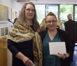 Carol White and student Christine O'Brien, winner of the Cork Printmaker's Educational Bursary.