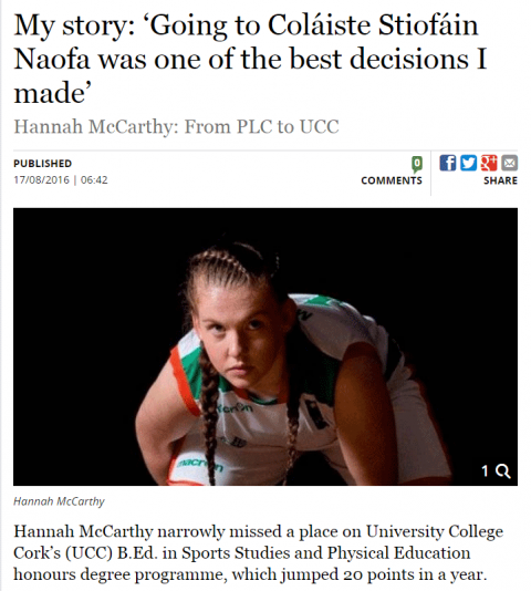 CSN Graduate Hannah McCarthy interviewed in The Irish Independent.